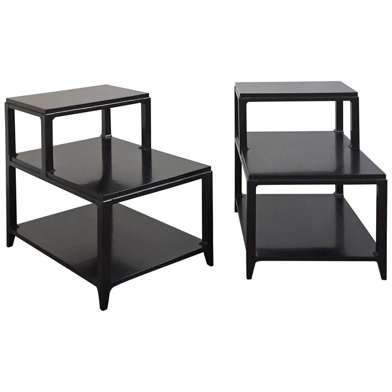 Pair of Mid-Century Lacquered Step Tables For Sale