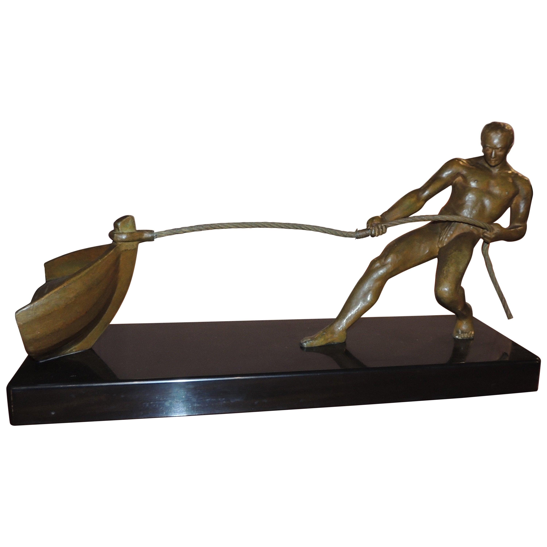 Art Deco Bronze Statue of Man Pulling Boat Sculpture