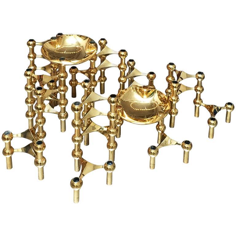 1960s Brass Modular Candleholder For Sale