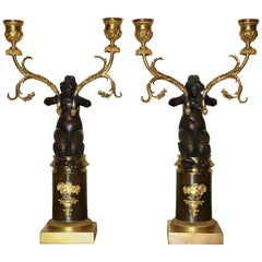 Pair of Early Empire Mermaid Candelabra Attributed to Claude Galle
