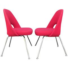 Pair of Eero Saarinen for Knoll Side Chairs on Chrome Legs