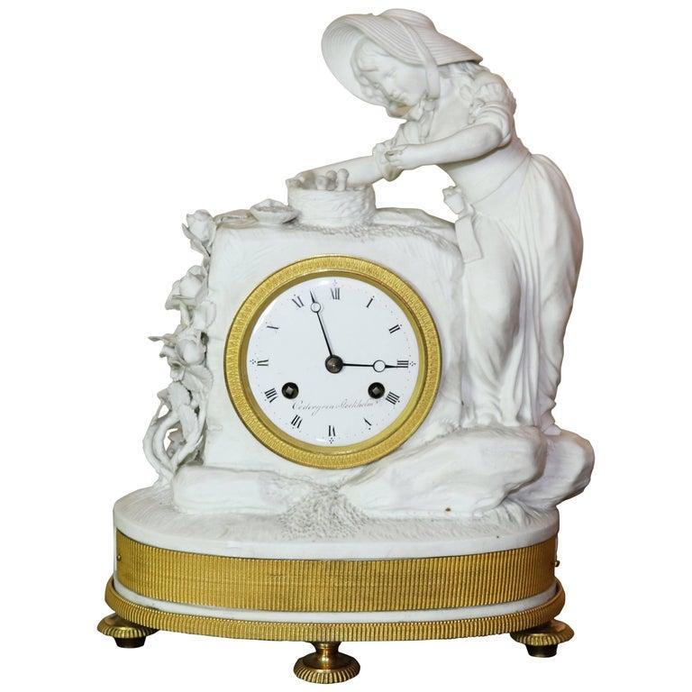 Empire Figural Bisque Porcelain and Gilt bronze Clock Cedergren Stockholm
