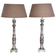 Pair of Slender Contemporary Metal Base Lamps