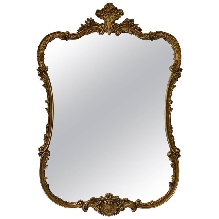 Large Hollywood Regency Baroque Giltwood Mirror, 1950s