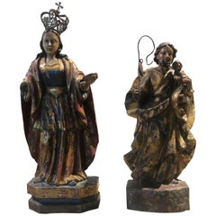 Pair of 17th Century Spanish Gilt and Painted Wood Sculptures
