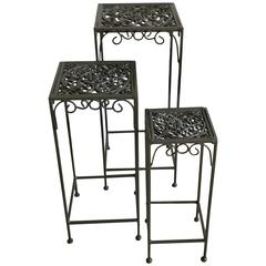 Decorative Regency Style Cast Iron Patio Garden Nesting Tables, 1960's
