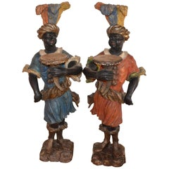 Pair of 18th Century Italian Giltwood Blackamoores Sculptures