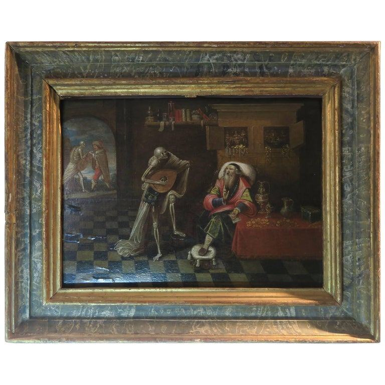 17th Century Painting Attributed to Frans Franken the Younger, Play with Death For Sale