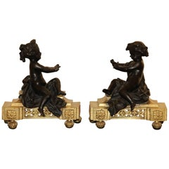 Pair of Louis XVI Giltbronze and Patinated Chenets