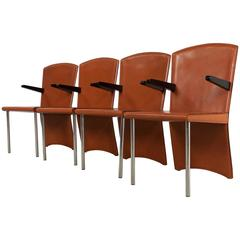 Cognac Leather Dining Chairs by Andrea Branzi for Zanotta, 1980s