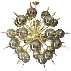 Brass, Golden and Mercury Murano Glass Globes Sputnik Chandelier