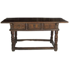 17th Century Baroque Walnut Library Center Table