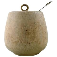 Arne Bang and Hans Hansen, Jam Jar in Stoneware Decorated with Eggshell Glaze