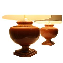 Very Large Pair of Red Travertine Lamps, 1970s