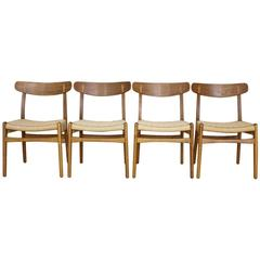 Set of Four Hans Wegner CH23 Dining Chairs Carl Hansen & Son, Denmark, 1950