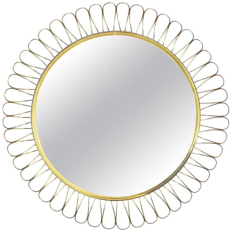"""Brass """"Sunflower"""" Mirror, 1950s"""