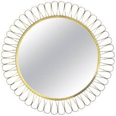 "Brass ""Sunflower"" Mirror, 1950s"