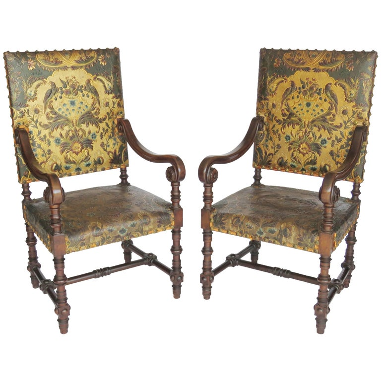 Pair of Louis XIV Style Walnut Tooled Leather Armchairs