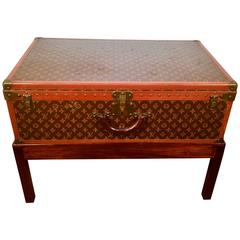 Large Louis Vuitton Steamer Trunk and Stand