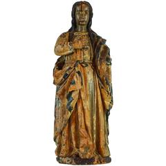 16th-17th Century Spanish Colonial Carved and Painted Statue of Mary Magdalene