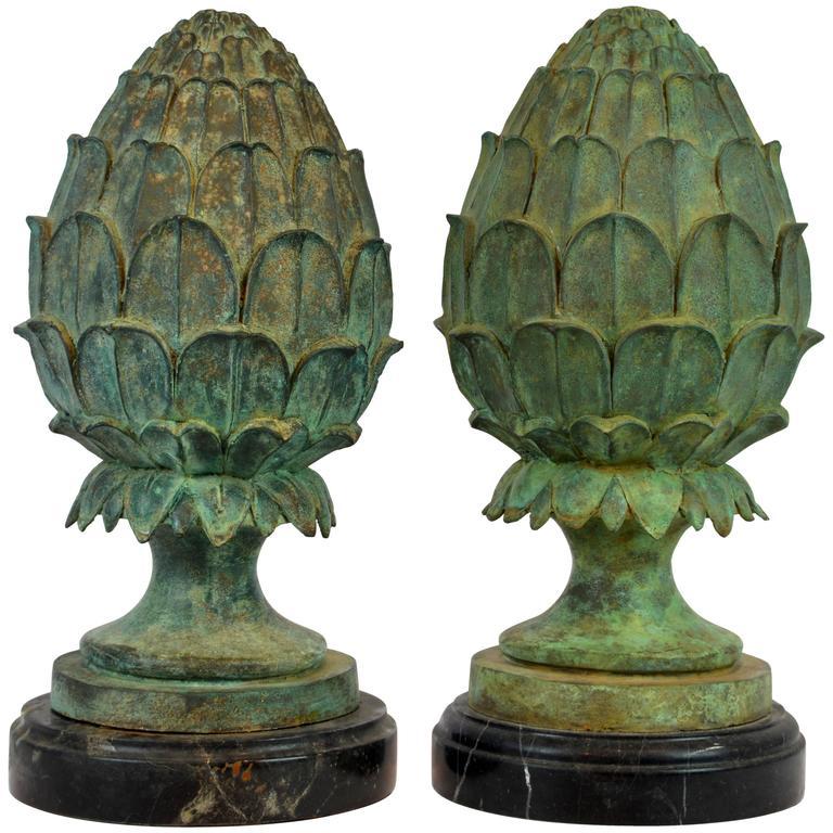 Pair Of Verdigris Patinated Bronze Alloy Artichoke Finial