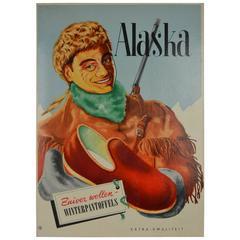 Vintage-Werbeschild für Alaska-Filzpantoffeln, 1950er Jahre