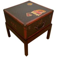Louis Vuitton Steamer Trunk on Stand, Unusual Square Shape