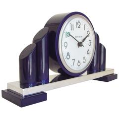 American Art Deco Revival Chrome & Blue Enamel Mechanical Mantel Clock by Welton