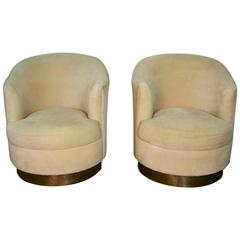 Pair of Milo Baughman Style Swivel Club Chairs