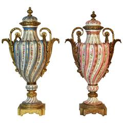 19th Century French Sevres Swirl Urns Pink and Celeste Blue