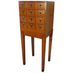 12-Drawer Golden Oak Card Index Filing Cabinet, Wine Rack