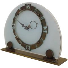 English Art Deco Brass and Beveled Glass Mechanical Demilune Clock by Smiths