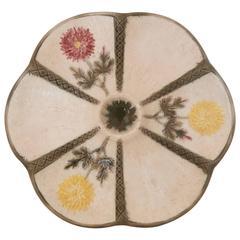 Majolica Chrysanthemum Oyster Plate Wedgwood, circa 1875