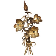 Modernist Flowers Metal Sconce, circa 1960