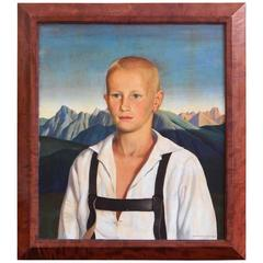 """Blond Youth with Lederhosen,"" Portrait by Reyl-Hanisch"