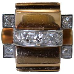 Tank Ring Yellow Gold 18-Karat Platinum Diamonds, Art Deco, 1940