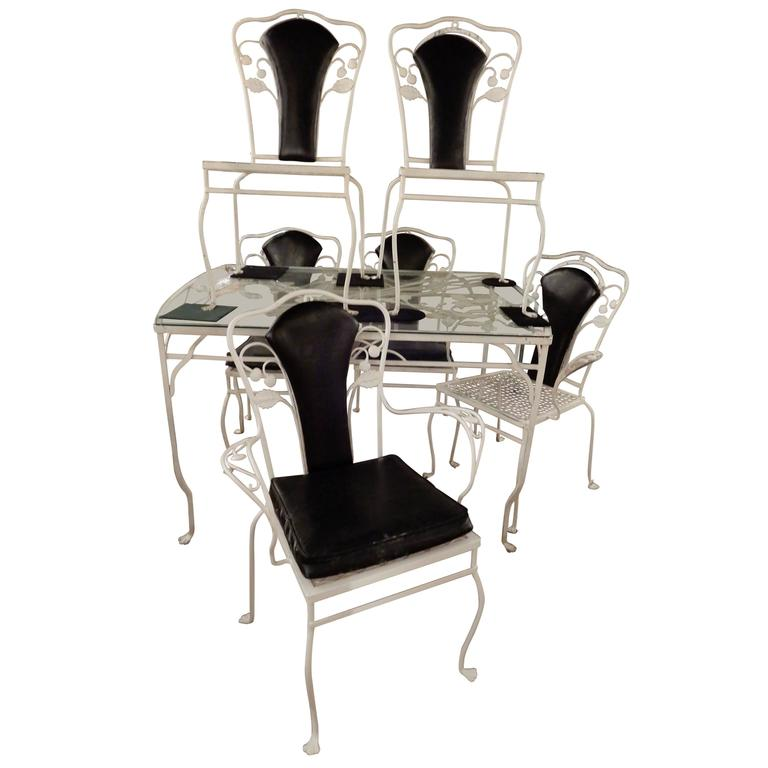 Salterini Wrought Iron Dining Set Seven Pieces For Sale