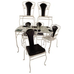 Salterini Wrought Iron Dining Set Seven Pieces