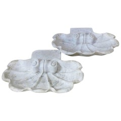Pair of Antique Marble Shell Basins, France, 19th Century