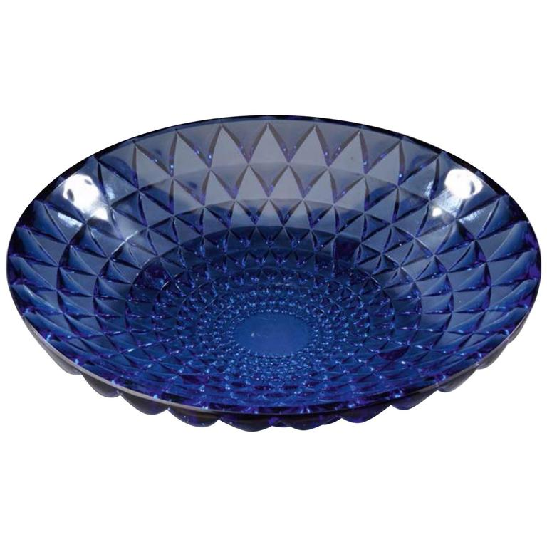 """Rene Lalique Blue Bowl """"Rosace"""""""