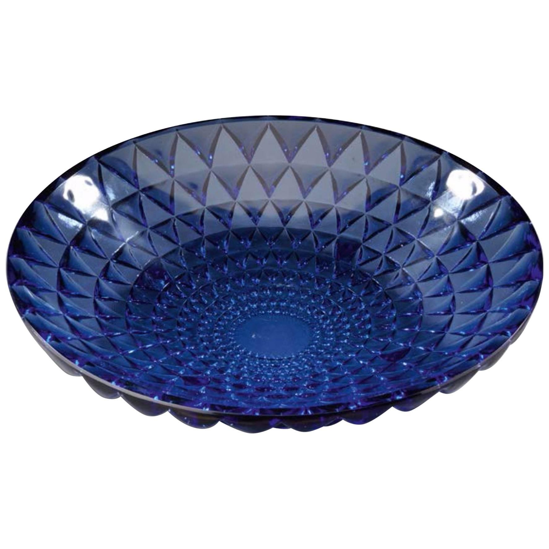 "Rene Lalique Blue Bowl ""Rosace"""