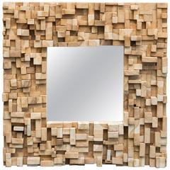 Brutalist Style Custom-Made Wood Block Mirror