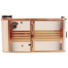 German Art Deco Brass and Enamel Combination Musical Compact & Cigarette Case