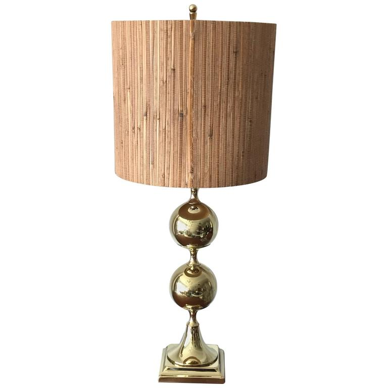 Unusual Polished Brass Lamp by Tower Craftsman 1