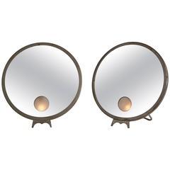 Pair of French Illuminated Vanity Mirrors by Brot