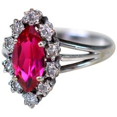 Ring in 18-Karat White Gold with Rubies and Diamonds