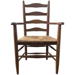 Ernest Gimson Oak Arts & Crafts Cotswold School Ladderback Rushed Chair