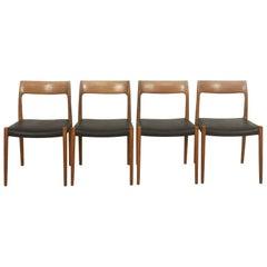 Teak Chair No. 77, Set of Four, Niels Moller for Moller Models Denmark, 1960s
