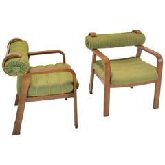Pair of 1930s Lehr & Leubert Burlwood Armchairs