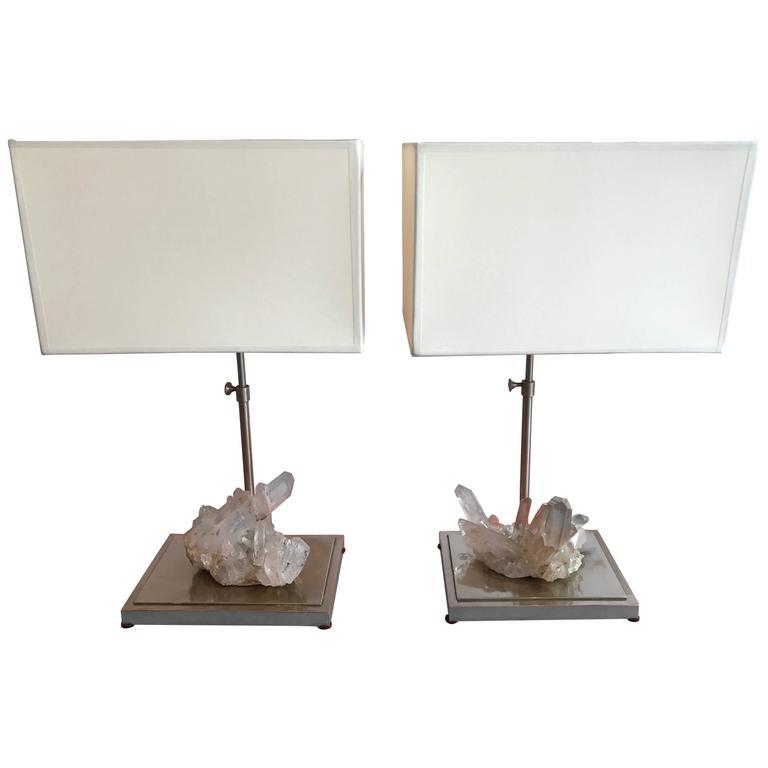 Pair of Rock Crystal Quartz Lamps, France, 1970s